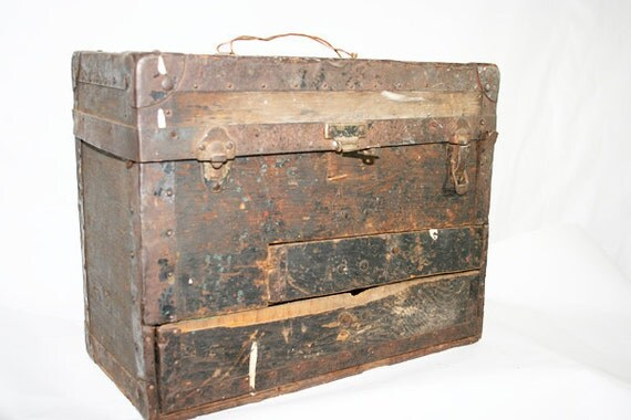Rustic and Primitive Wood Box with Metal Edging