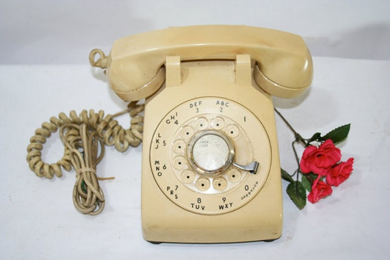 SALE Vintage Beige Rotary Dial Telephone beige or buttery