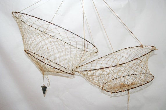 Vintage String Fish or Crab Net with Weight