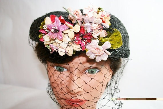 Vintage Black Straw Hat with Veil Netting and an abundance of Milinery Flowers