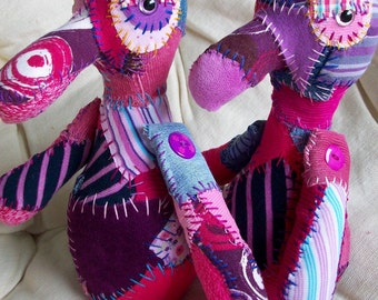 twin ICKEBADIKA's upcycled patchwork buddy dolls for anyone who has love to share by Claudia Fill