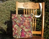 upcycled tapestry haversack / tote bag / purse  apples and green flourishing leaves on red