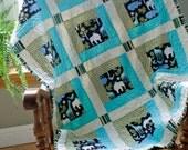 Baby Boy Quilt - Jungle Elephants, Giraffes, Hippos, Frog, Bird Michael Miller Fabric