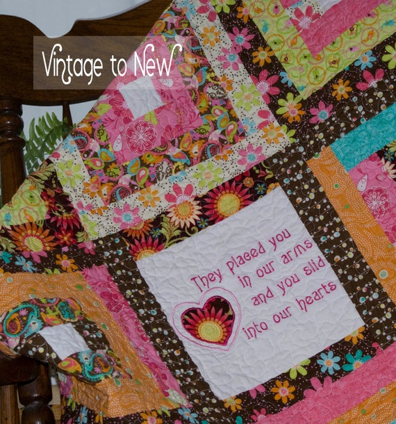 Baby Quilt - They Placed you in our arms and you slid into our hearts