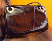 Vintage Purse. Black Patent Leather, Triangle Accent, Classic 50s 60s Purse