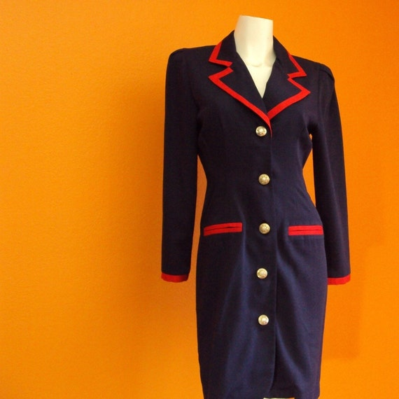 Vintage Dress. Blazer Dress. Navy Blue, Red. Sailor Girl, Silver Toned Metal Buttons, Insignia. Suit. Nautical. Pin Up. 80s, 90s. sz. S - M - Petite.