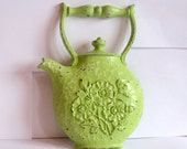 Vintage Teapot Plaque, tea kettle shape w/ floral detail