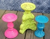 Aurora Candle Pedestals - 3 pillar candle holders, mod colors- upcycled shabby chic - painted lime green, teal blue, berry pink