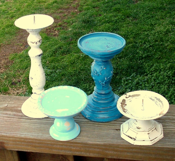 Pedestal Candle Holders : Alton candle pedestals set of painted by