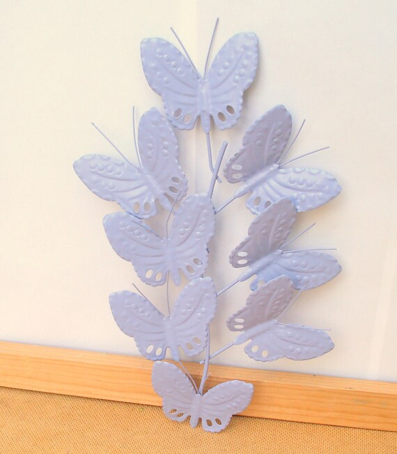 Butterfly Wall Hanging - Painted Springtime Garden Lilac Lavender - stamped embossed metal - upcycled shabby cottage chic