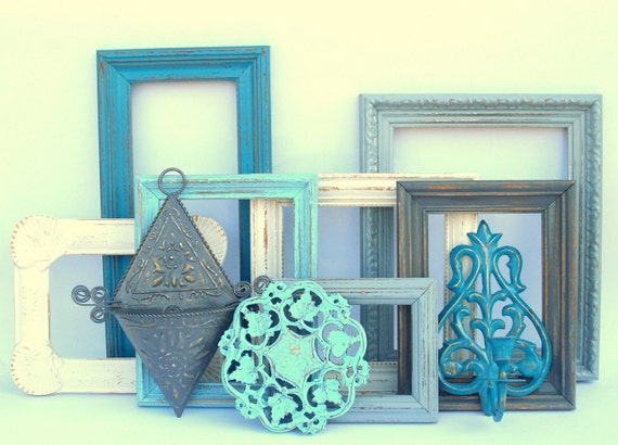 SALE - Dorchester Collection - aqua, teal blue, antique white, gray grey - 10 painted upcycled shabby cottage chic - frames frame sconce