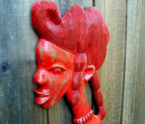 Wooden Red African Goddess Wall Hanging - upcycled shabby cottage chic - painted and carved plaque
