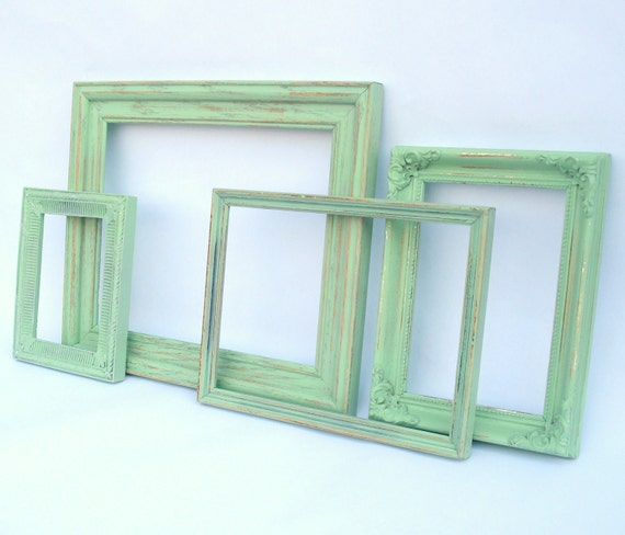Minty Green Frame Quartet - upcycled shabby cottage chic - 4 mint painted frames - Paris Apartment - beach cabin pistachio