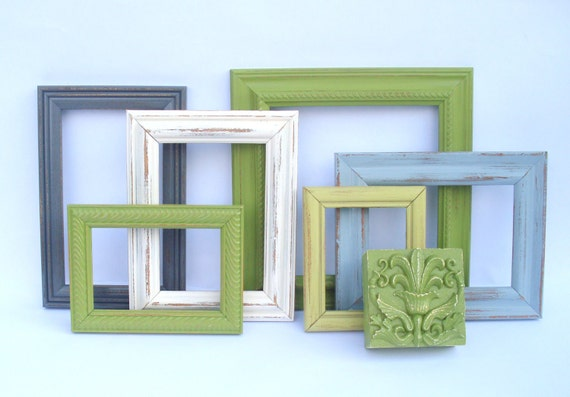 Adlai Wall Collection - 7 painted pieces - 6 frames, 1 plaque - upcycled shabby cottage chic green avocado gray grey cream antique white