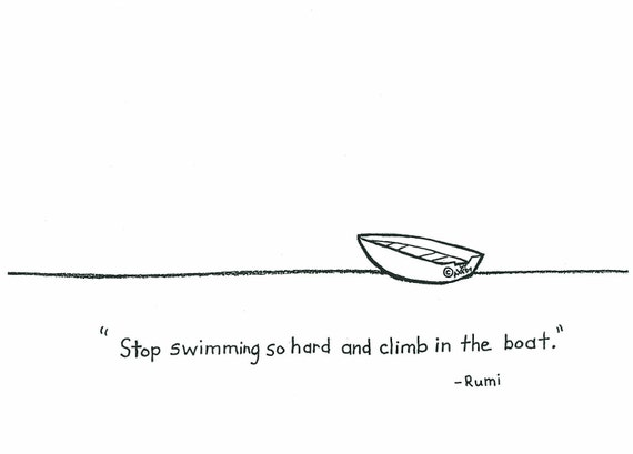 Climb In The Boat Pencil Drawing Card