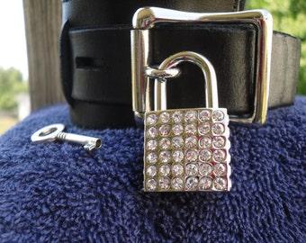 Polished nickel padlock with rhinestones - Free US Shipping