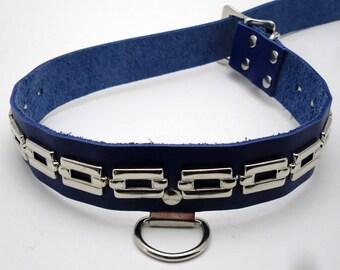 Custom sized blue leather metal chain spots BDSM bondage slave collar