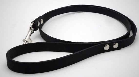 Leather leash - Black leather with nickel snap - Free US Shipping