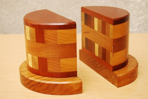 Danish Semi Circle Wood Bookends