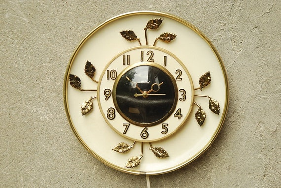 Vintage Wall Clock in White with Gold Leaves by United Clock Corp
