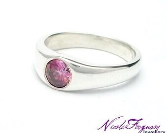 Raspberry pink gemstone ring handmade in sterling silver