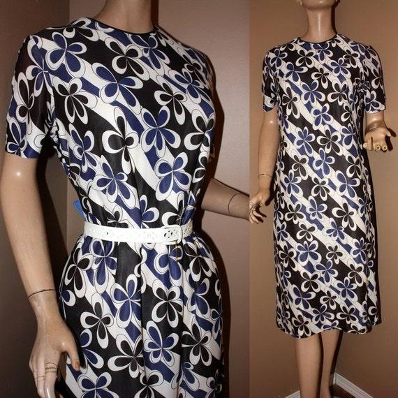 Reserved for Juls Vintage Mod 1950s 60s Floral Shift Dress Flower Power L