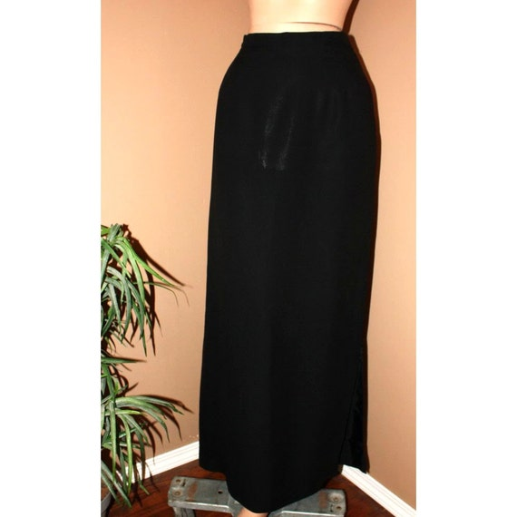 vintage skirt black fitted maxi evening skirt l