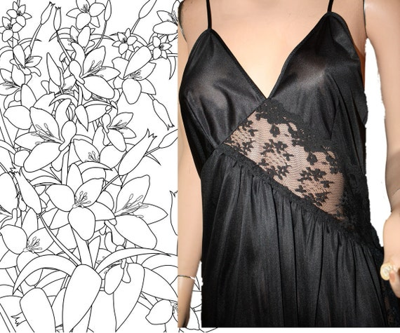 Vintage Nightgown Long Black Sexy M