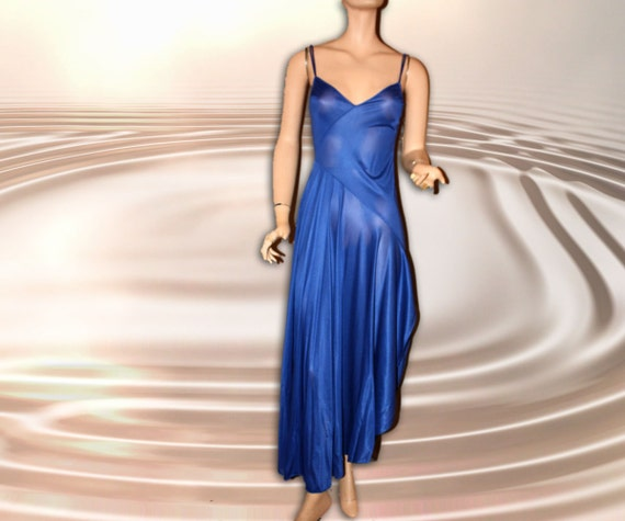 Vintage Sexy Nightgown Long Blue Asymmetrical S