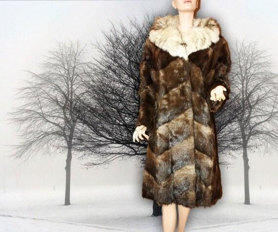 Reserved for Suzie Vintage Fur Coat Chevron Muskrat and Fox Fur  L