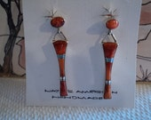 Handmade Native American Indian Coral Sterling Silver Pierced Earrings Ear Rings