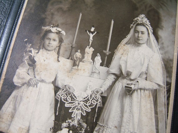 Vintage Photograph - Margaret and Katherine - First Holy Communion