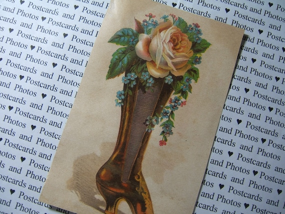 Vintage Ephemera Victorian Boot with Flowers 1800s