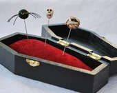 Coffin Pincushion and Decorative Pin Set