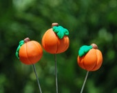 3 Polymer Clay Pumpkin Decorative Pins