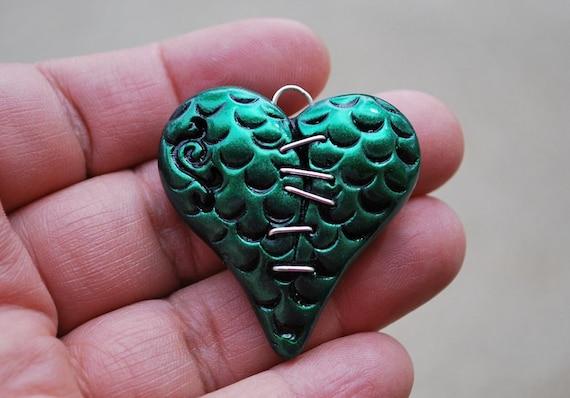 Stitched Up Dragon Skin Heart Pendant, Metallic Green