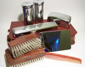 Vintage c1950s Mens Grooming Set Vanity Chrome Real Cowhide Full Set Excellent Condition