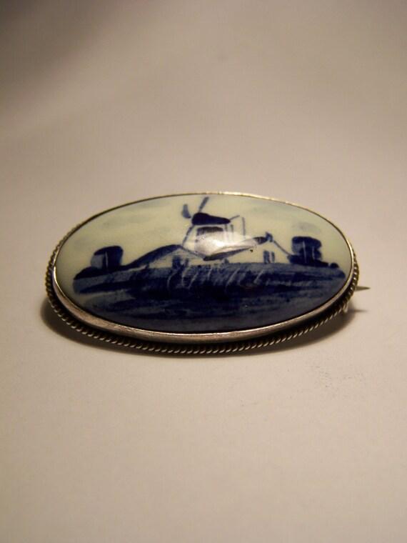 Vintage Dutch Delft & 835 Silver Brooch Signed V. K. plus Silver Makers Hallmarks