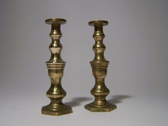 Antique Miniature Brass Candlesticks Candle holders 5.5cm 2.25 inches