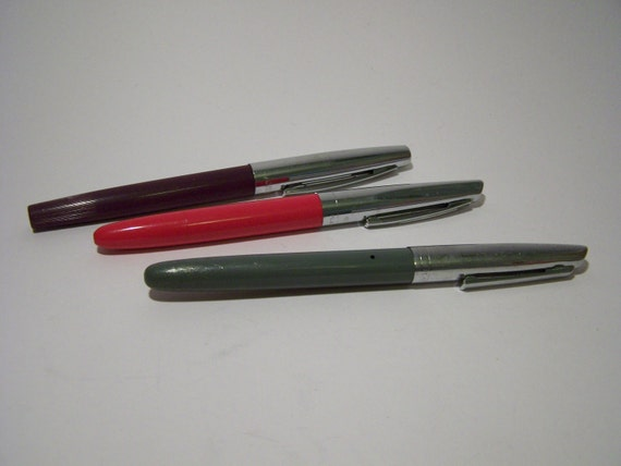 3 Vintage Platignum Fountain Pens Bi Colour Cases Medium Nibs All Working