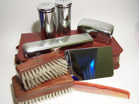 Vintage C1950s Mens Grooming Set Vanity Chrome Real Cowhide