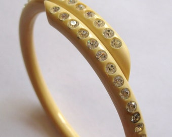 Vintage 20s 30s Celluloid Rhinestone Flapper Girl Coil Bangle Bracelet