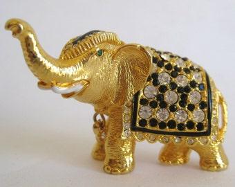 Vintage 80s Gold Enamel Rhinestone Exotic African Elephant Brooch Pin