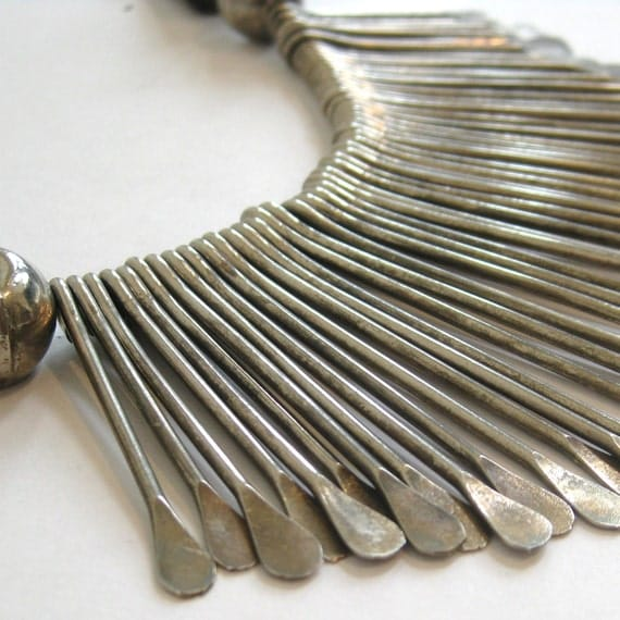 Reserved - Vintage Exotic Native American Indian Silver Bead Tribal Bib Statement Jewelry Studio Necklace