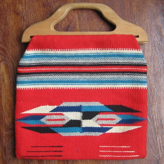 Vintage Native American Indian CHIMAYO Wool Blanket Fabric Handbag Purse