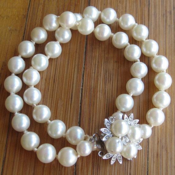 Vintage 60s Double Strand Glamour Girl Baroque Pearl Rhinestone Clasp Bracelet