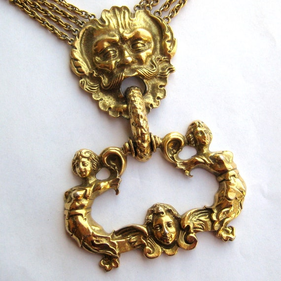 Vintage BIG Victorian Revival Chunky Baroque Gold Door Knocker Orante Statement Pendant Necklace