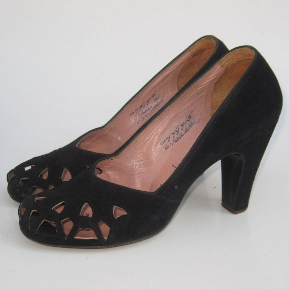 RESERVED Vintage 40s Black Suede Leather Peep Toe Open Lattice Cut Outs Pin Up Girl High Heels 6 1/2