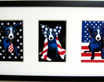 George Rodrigue Blue Dog Patriotic Note Card Trio -  Framed - 22 in x 12 in