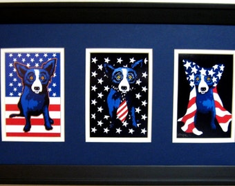 George Rodrigue Blue Dog Patriotic Trio